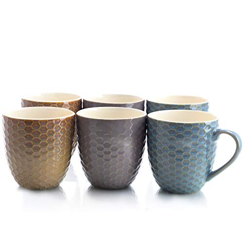 Elama EL Honeysuckle 6-Piece 15 oz. Mug Set, Assorted Colors, 15 Ounce, Multicolor