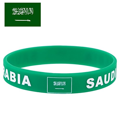 TDoperator Saudi Arabia Flag Silicone Bracelet FIFA World Cup 2018 Soccer Fan Unisex Design Soft and Durable Wristband for National Football Supporters Fans Fashion Sport Wrist Strap Souvenir Gift