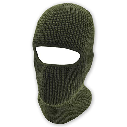 grinderPUNCH Double Layered Knitted One Hole Ski Mask - Assorted Colors Tactical Paintball Running (Olive Green)