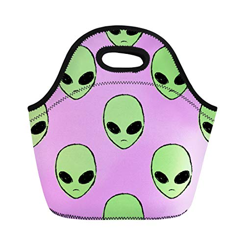 (Semtomn Lunch Bags Colorful Head Alien and Ufo Pop in 1990 Modern Neoprene Lunch Bag Lunchbox Tote Bag Portable Picnic Bag Cooler)