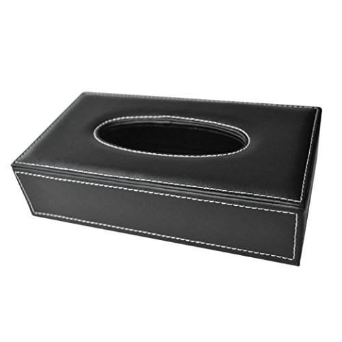 - Yeefant Car and Home Rectangle Faux Leather Case Paper Tissue Tray Box Holder Black,0.79x0.46x0.33 Ft