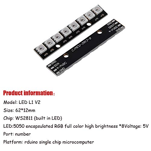 Comidox 2PCS WS2812 5050 RGB 8 LEDs Light Strip Driver Board 8 Channel Built-in Full Color-Driven Development Board Black for Arduino by Comidox (Image #3)