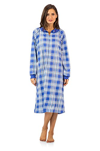 Casual Nights Women's Plaid Long Sleeve Zip Up Long Nightgown - Blue - Large
