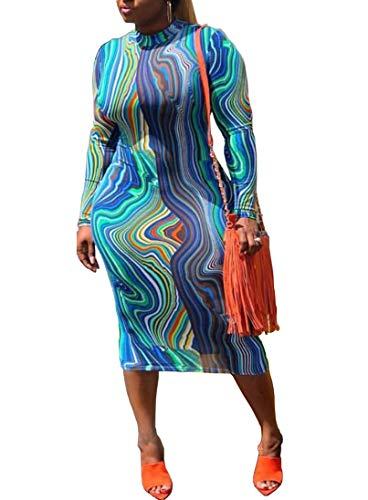 Ophestin Women Sexy Long Sleeve Turtleneck Stripe Print Bodycon Slim Sheath Long Midi Pencil Dress Multi M