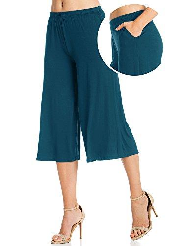 Fashion California Womens 1 Pack Elastic Waist Jersey Culottes Capri Pocket Pants (Medium, Teal)