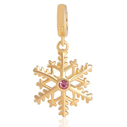 Christmas Snowflake Gold Plated Sterling Silver Charm Dangle Bead Fits Bracelet-Xmas Gift ()