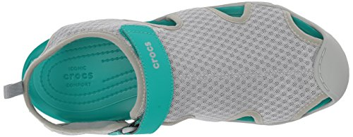 Crocs Swiftwater Mesh Women, Sandales Bout Fermé Femme Gris (Light Grey)