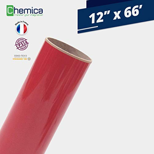 (CHEMICA FirstMark HTV, Heat Transfer Vinyl 12 Inches by 66 Feet Roll for T-Shirts, Iron-On, Flexible, Compatible with Cricut, Silhouette Cameo/Portrait, Easy to Weed, PVC (Red, 12
