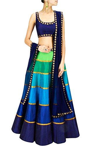 Binny Creation Women's Embroidered Silk Lehenga Choli Free Size Blue ()