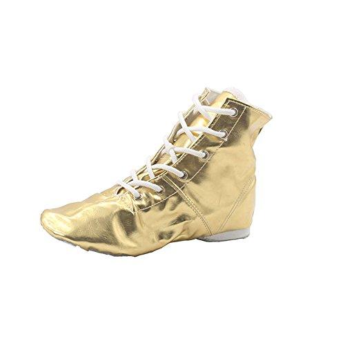 (PU Women's Jazz Dance Boots Gold,9 M US)