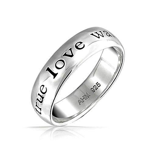 (Mantra Sentimental Words True Love Waits Purity Promise Ring Band For Teen 925 Sterling Silver)