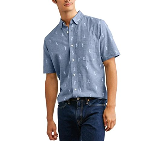 Men's Stretch Printed Woven Button Down Short Sleeve Shirt (X-Large 46/48, Hula Girl)