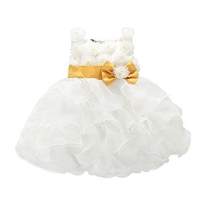 e8909fd9d Amazon.com  Cute White flower girl dress baby s dress skirt US 2 4 ...