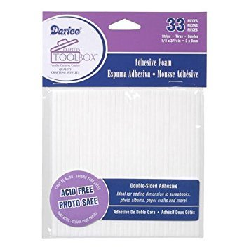 - Darice Bulk Buy DIY Double Sided Foam Sticky Strips White 33 Pieces (6-Pack) 1206-01