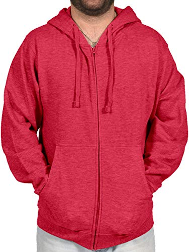 Licensed-Mart Originals Men's Athletic Soft Lined Fleece Zipper Zip Up Hoodie Sweater Jacket 4010, Heather Red, S