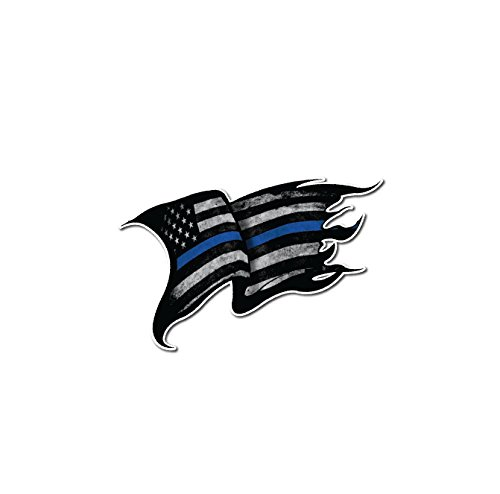 Cops Sticker - Tattered Police Officer Thin Blue Line Fallen Officer Waving American Flag Cop decal sticker graphic