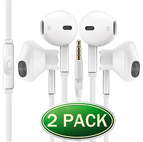 Premium Certified Headphone [2 Pack] Universal 3.5MM In-Ear In Line Noise Isolating Headset Crystal Sound Earbuds with Volume Control & Mic for Apple iPhone iPod iPad Samsung Galaxy LG HTC