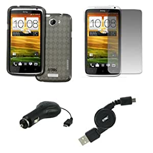 EMPIRE AT&T HTC One X Poly Skin Case Cover (Smoke Diamonds) + Screen Protector + Retractable USB 2.0 Data Cable + Retractable Car Charger [EMPIRE Packaging]