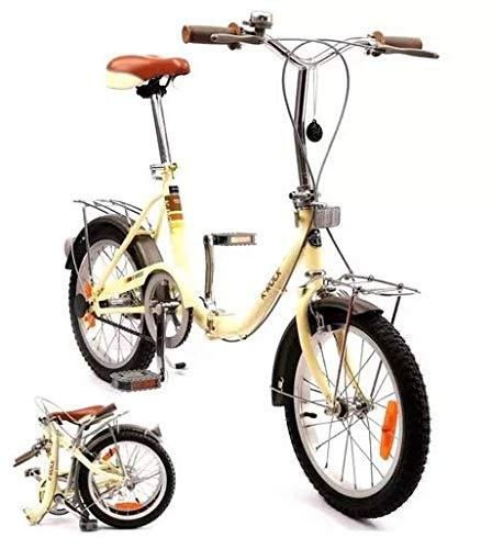 K-ROCK Bicicleta Plegable R16 Ligera Retro Estilo Vintage Rin 16 Pulgadas (Beige)