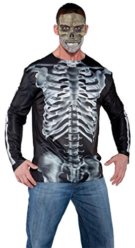 Underwraps Costumes Men's Skeleton with Guts Costume - Photo Real Shirt, Red/Multi, One (Halloween Fancy Dress Evil Living Dead Zombie)