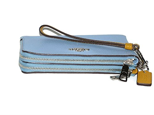 Coach Colorblock Double Corner Zipper Blue Sunflower Yellow Leather Wristlet, 64799 by Coach (Image #2)