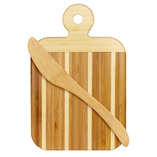 Bamboo Striped Boards - Totally Bamboo Striped Paddle Serving and Cutting Board and Spreader Knife Gift Set