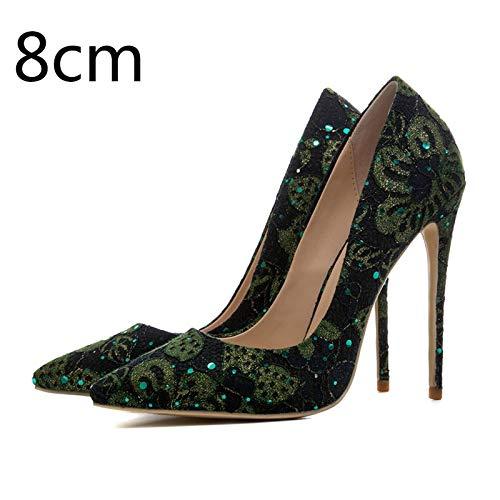 Tela Más Encaje Estrecha Verde Punta Mujeres Hoesczs Delgada Heel Casual Las Mujer Tacones Zapatos Tamaño De 8cm 45 Bombas Green Altos on 33 Lentejuelas Slip UdXXqW