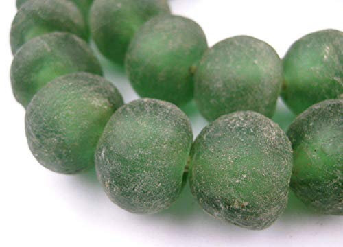 Jumbo Recycled Glass Beads - Beaded Wall Hangings - Extra Large African Sea Glass Beads 21-25mm - The Bead Chest (Light Green) ()