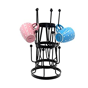 PAG 15 Hooks Coffee Cup Holder Metal Mug Rack Tree Stand for Large Mugs, Black