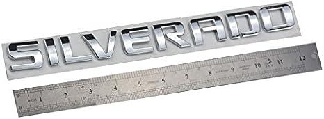 Chrome Aimoll 1 PCS Emblem Replacement for Silverado Chrome Silverado Letter Emblem,Badge 3D Emblem 1500 2500HD 2011-2015 Silverado Chevrolet