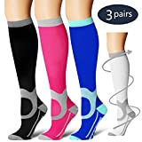 Laite Hebe Compression Socks,(3 Pairs) Compression Sock Women & Men - Best Running, Athletic Sports, Crossfit, Flight Travel(Multti-colors14-L/XL)