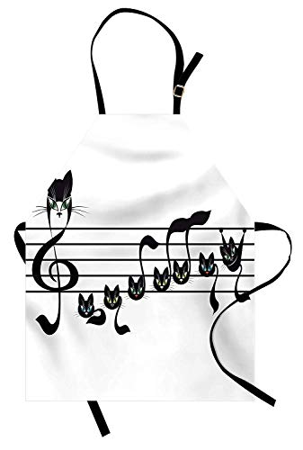 VCFUN Music Adjustable Bib Aprons, Notes Kittens Kitty Cat Artwork Notation Tune Children Halloween Stylized Monochrome Women/Men Kitchen Apron with Extra Long Ties for Chef Cooking Baking, Large