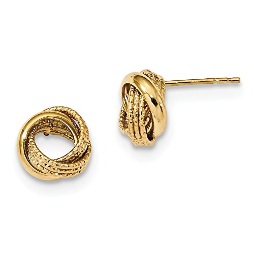 14kt Yellow Gold Textured Love Knot Post Earrings by Perfume4All