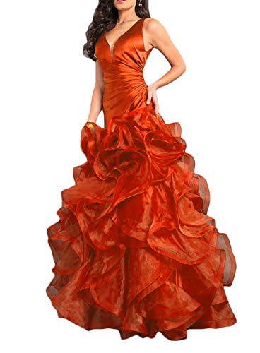 01546cde0e8 Ri Yun Elegance Ruffles Mermaid Prom Dresses Long 2018 Backless Organza  Formal Evening Ball Gowns