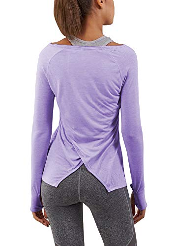 Bestisun Winter Yoga Tops Long Sleeve Workout Clothes Boat Neck Plain T-Shirts with Thumb Holes for Sports Women Purple XL