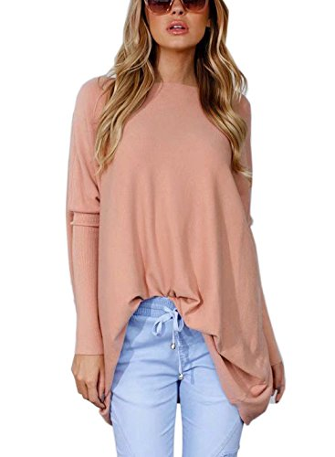 FFLMYUHULIU Women's Oversized Casual Baggy Loose Pullover Boat Neck Sweater Tops (Z100-01-Pink) (Oversized Sweater Boatneck)
