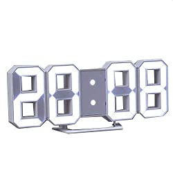 XWB 3D LED Modern Digital Display Alarm Clock Snooze Table Clock Lighting Wall Clock Dual Time Display