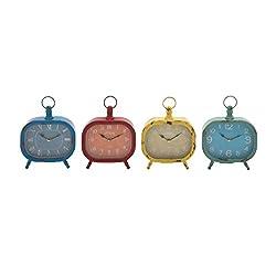 Benzara 92214 The Rectangular Metal Desk Clock, Assorted