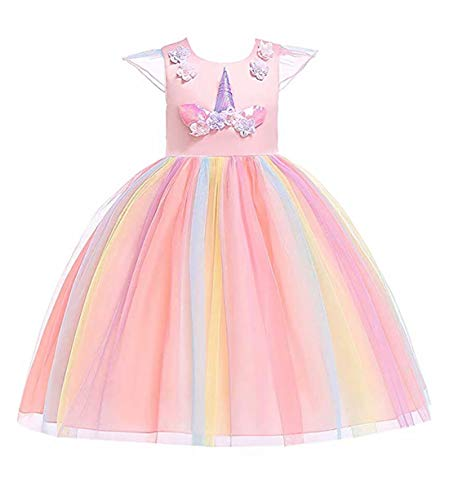 Girls Unicorn Costume Cosplay Dress Party Outfit Fancy Dress Princess Tutu Skirt for Festival Performance Birthday Pageant Carnival Halloween Photo Shoot for Kids Teenagers (Pink, 110)]()