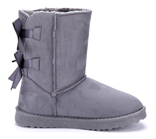 Schuhtempel24 Damen Schuhe Winterstiefeletten Stiefel Boots Flach Zierschleife/Emu/Schlupf Grau