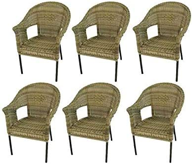 Pack 6 sillones de jardín de Aluminio y ratán sintético Color Natural, Apilable, Diseño rústico, Tamaño: 62x66x86 cm: Amazon.es: Jardín