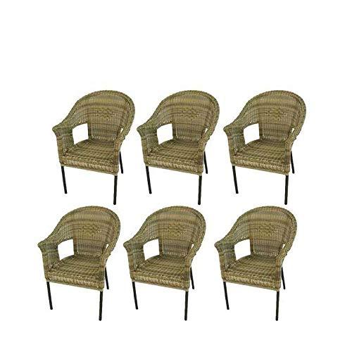 Pack 6 sillones de jardín de Aluminio y ratán sintético Color Natural, Apilable, Diseño rústico, Tamaño: 62x66x86 cm