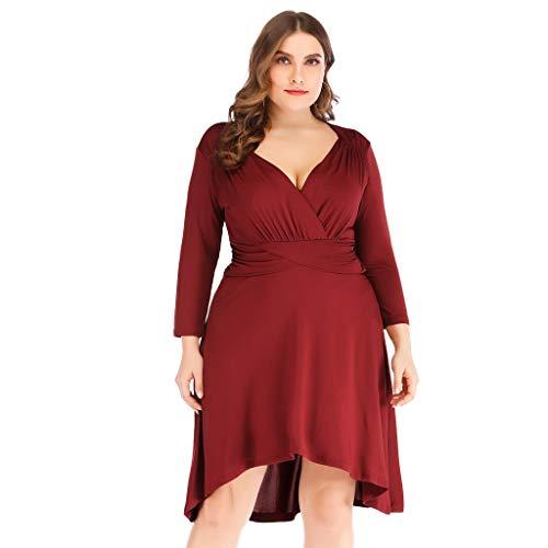refulgence Women's V-Neck Waist Elegant Swing Dress European and American Plus Size Dress(Red,US=XL)