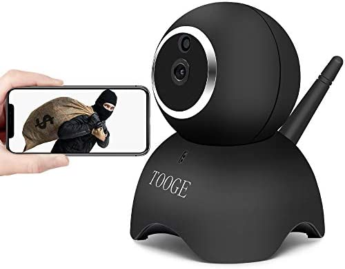 TOOGE WiFi Dog Pet Camera Wireless Security Camera FHD Home Security Indoor Camera with Night Vision 2-Way Audio Motion Detection Black