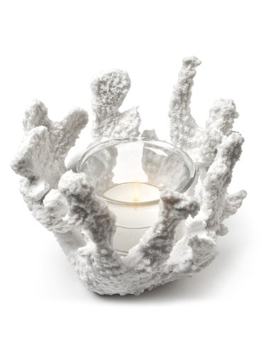 Christmas Tablescape Decor - White coral 4-inch tealight candle holder by American Chateau