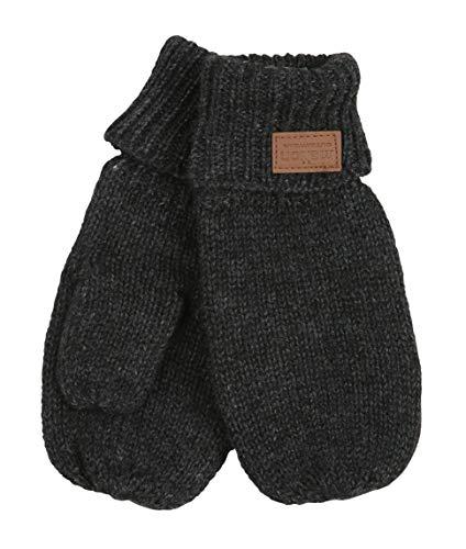 Melton Unisex Baby Lamb Wool Mittens, Dark Grey Melange, 1 to 2 years