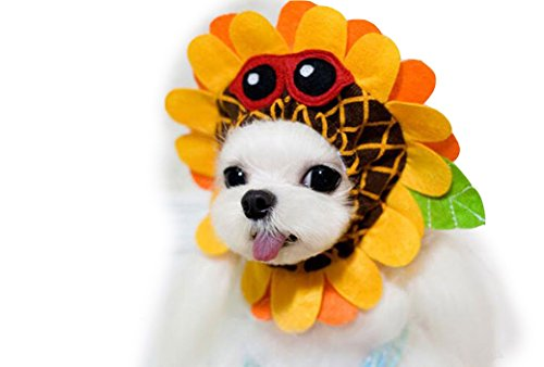 Sunflower Cat Costume (OUUD Cute Pet Sunflower Hat Dog Cat Costume Cosplay Fancy Dress Up (L))