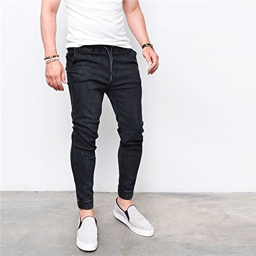 Digital baby New Simple Solid Color Stretch Slim Male Jeans Trousers Elastic Waist Drawstring Fashion Feet Pants Men durable modeling