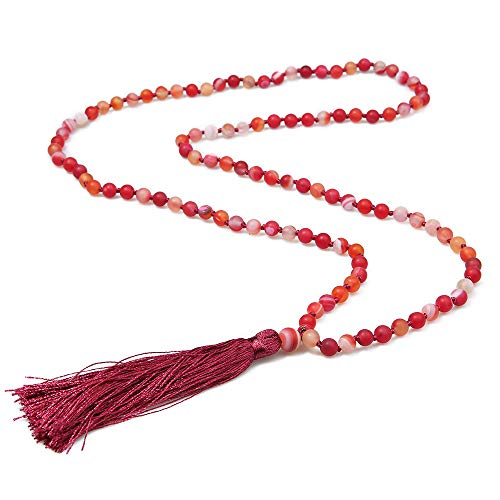 BALIBALI 6MM Mala Beads Necklace Natural Stone Meditation Statement Necklace Japa Yoga Rosary Prayer Charm Beaded Tassel Necklace (Matte Sardonyx Stone)