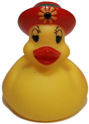 Rubber Ducks Family Lady Bonnet Rubber Duck, Waddlers Brand Toy Bathtub Rubber Duck Lady on Red Bonnett Hat That Floats Upright, All Depts. Gift Rubber Ducky Birthday, Ladies & Mother's Day